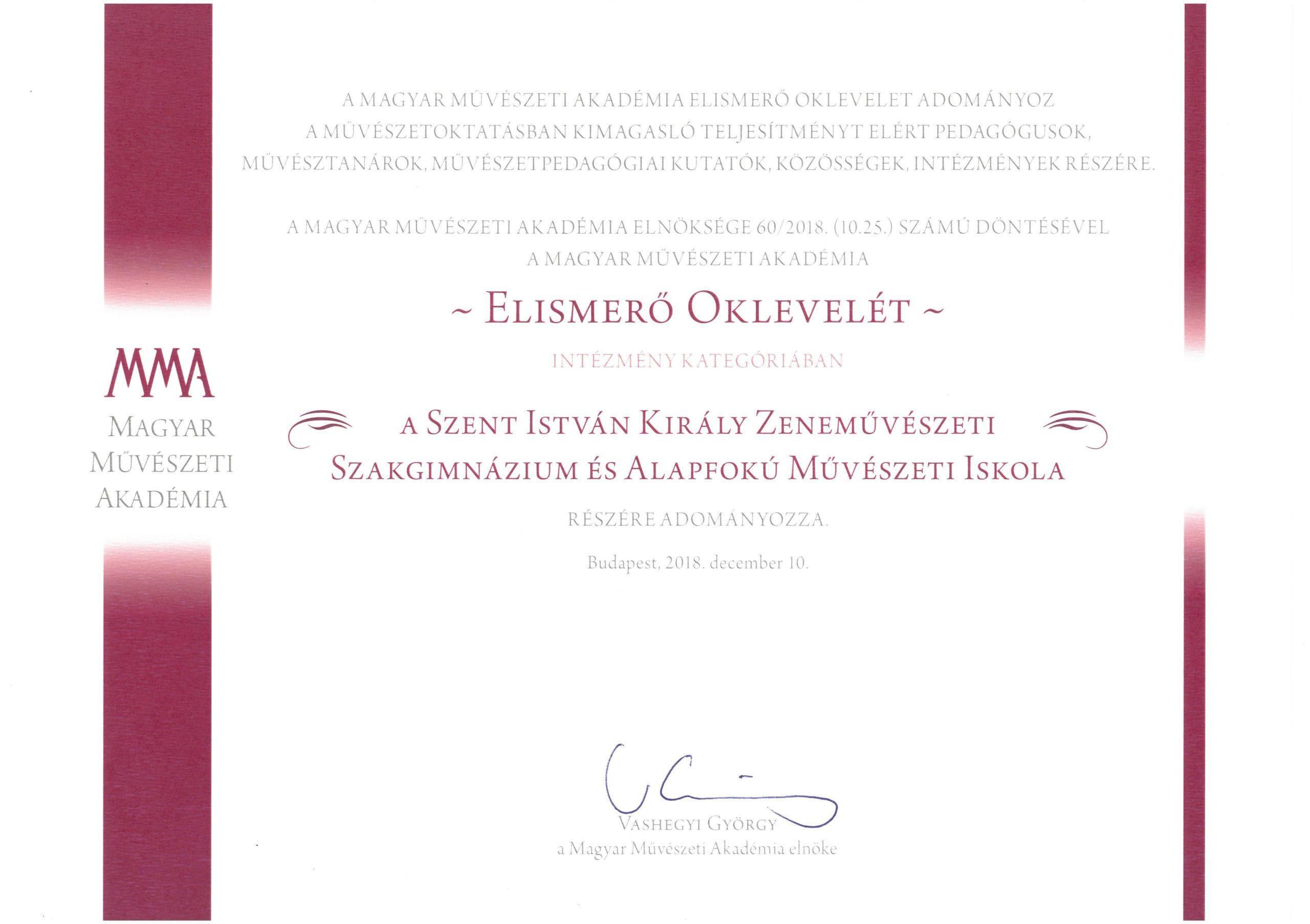 Magyar Művészeti Akadémia Elismerő Oklevél